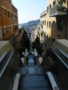 A view from the stop of the series of escalators