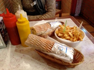 Two doners with fries