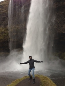 Feeling the powerful force of the waterfall!
