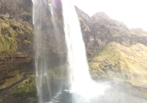 View of the path that runs behind the waterfall