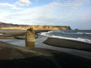 View of Reynisfjara beach from the cliffs
