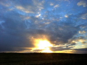 Views of the the sunset on the drive back to Reykjavik