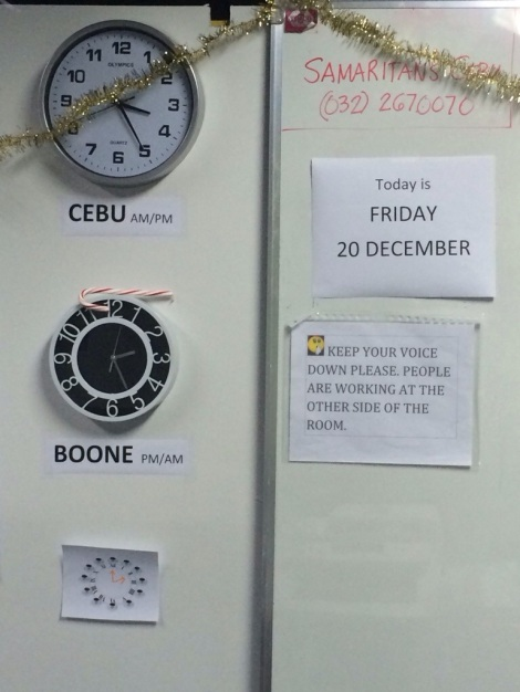 at the SP office...it's easy to lose track of the date & time, so this is key office decor