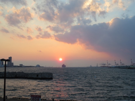 watching the sunset over Osaka bay