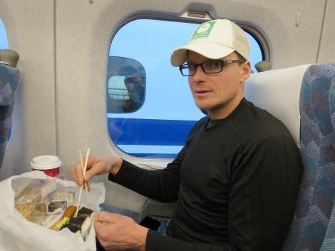 breakfast on train = starbucks + sushi