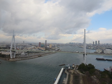 tempozan ohashi bridge in the osaka bay
