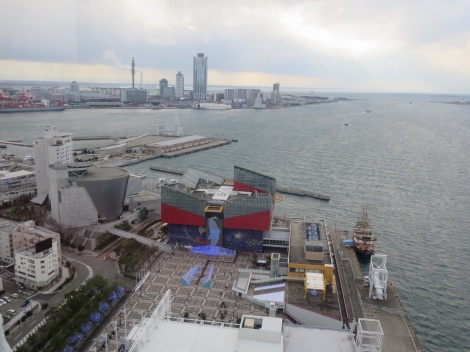 view of the aquarium from the ferris wheel