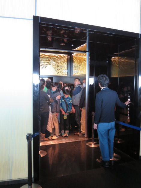 How many tourists can fit in an elevator?