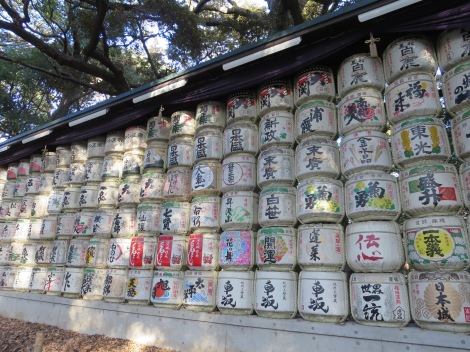 elaborately decorated barrels of sake donated to the shrine