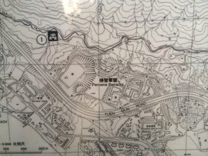 local trail map still shows the barracks on this site