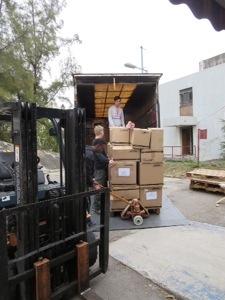 unloading a donation pickup