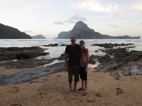 watching the sunset upon our arrival in el nido
