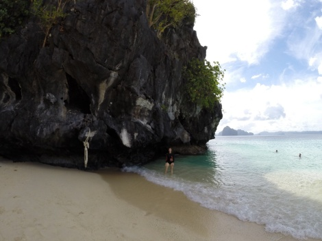 the snorkeling was right off the beach, around this rock