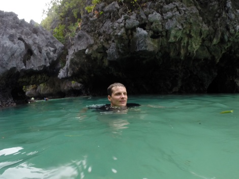 swimming in the small lagoon