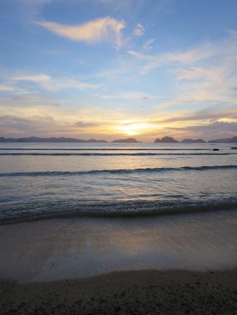 sunset on las cabanas beach