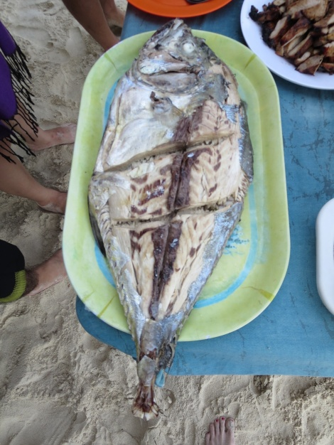 we ate the local lapu lapu (grouper) fish for the first time