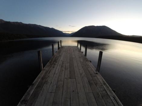 sunset at lake rotoiti