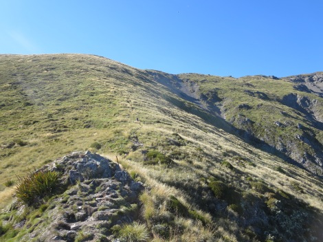 the final ascent to the ridge