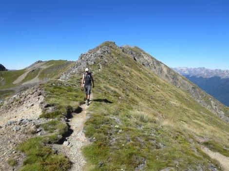 hiking back along the ridge