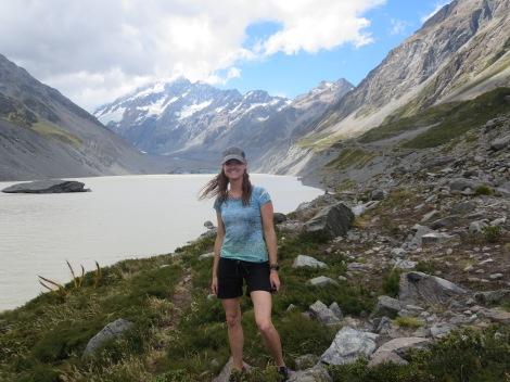 at hooker glacier lake