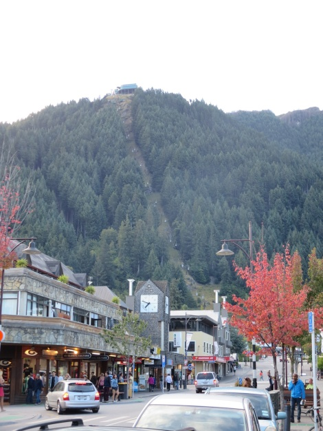 view of the gondola from town, steep stuff