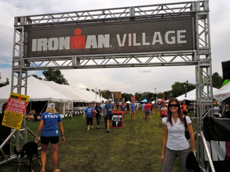at ironman village for athlete check-in
