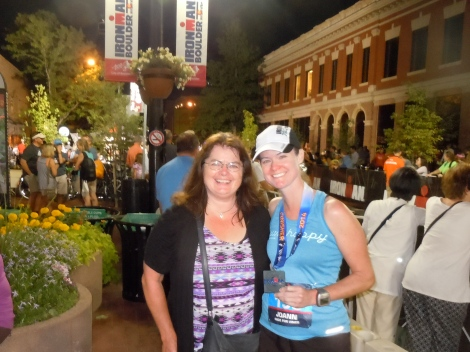 with my mom at the finish line