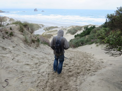 walking down the sand dunes to the beach
