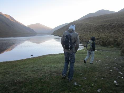 walking along the lake