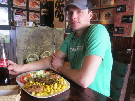 we both had traditional dishes...including mote which are corn kernels that have been boiled and cooked