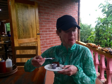 at the end of the tour, we tasted 100% cocoa...it's bitter without sugar added (thus the expression on my face)