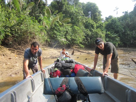 one of countless times pushing the canoe when it got stuck