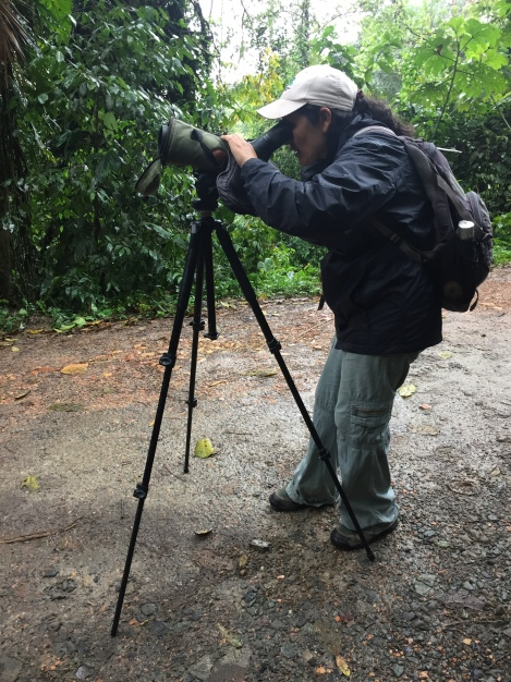 our guide setting up the bird-watching scope