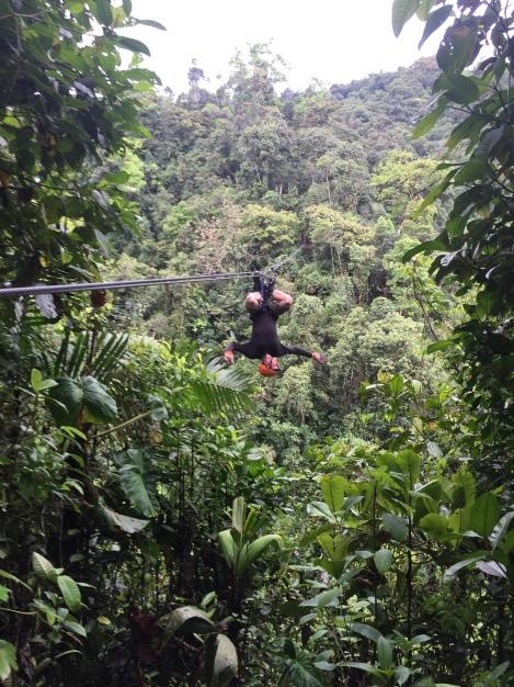 jay ziplining upside down...AKA butterfly style