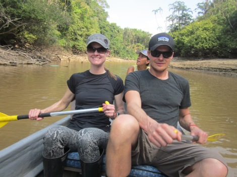 rowing down the river to the hiking spot